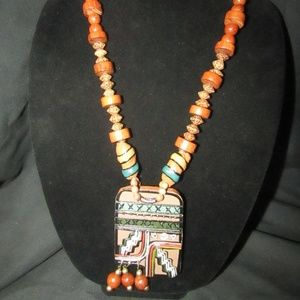 Jewelry - Vintage hand crafted clay beaded necklace
